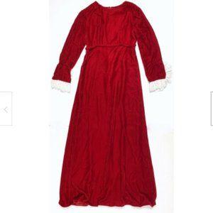 Lorrie Deb Rare Vintage Dress Long Red 60s Velvet